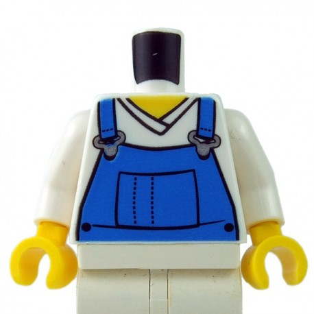 Lego Minifigure - Torse - Salopette Bleu (Blanc)