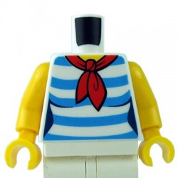LEGO minifigure - Torse - Chemise blanche à rayures, foulard rouge (Blanc)