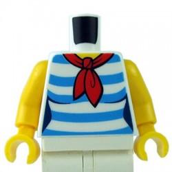LEGO - White Torso Female Shirt with Red Scarf & 5 Dark Azure Stripes