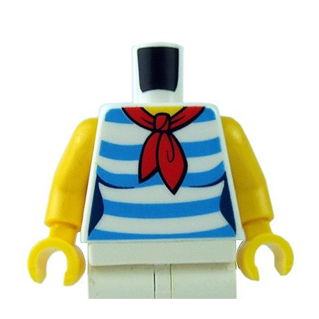 LEGO - White Torso Female Shirt with Red Scarf & 5 Dark Azure Stripes
