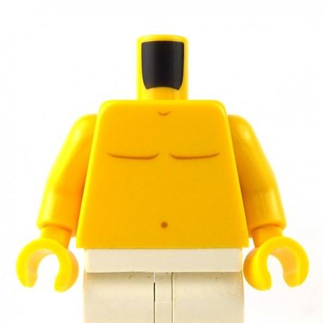 LEGO - Yellow Torso Bare Chest with Dark Orange Body Lines & Navel