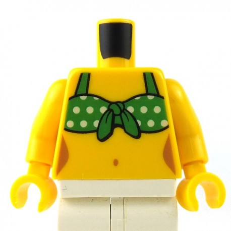 LEGO - Yellow Torso Female with Green Tied-On Bikini Top with White Dots