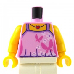 LEGO - Bright Pink Torso Female Top with Dark Pink Butterflies, White Flowers & Red Heart Necklace