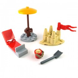 Lego Minifigure Mini Set - Parasol, Transat, Chateau de sable...