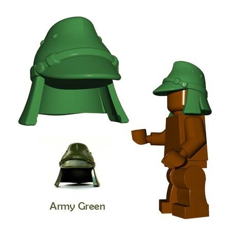 Lego Accessoires Minifigure BrickWarriors - Casquette Japonaise (Vert Militaire)
