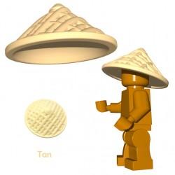 Lego Accessoires Minifigure BrickWarriors - Chapeau Chinois (Beige)