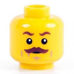 Lego Minifig Co. - Tête - Moustache Marron (Jaune)