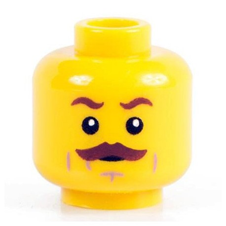 Minifig Co.- Brown Mustache Head (Yellow)