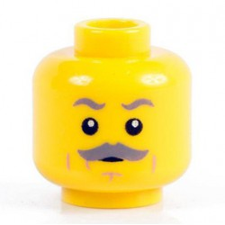 Minifig Co.- Grey Mustache Head (Yellow)