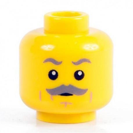 Lego Minifig Co. - Tête - Moustache Grise (Jaune)