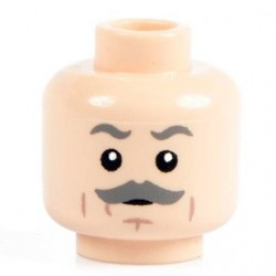 Minifig Co.- Grey Mustache Head (Light Flesh)