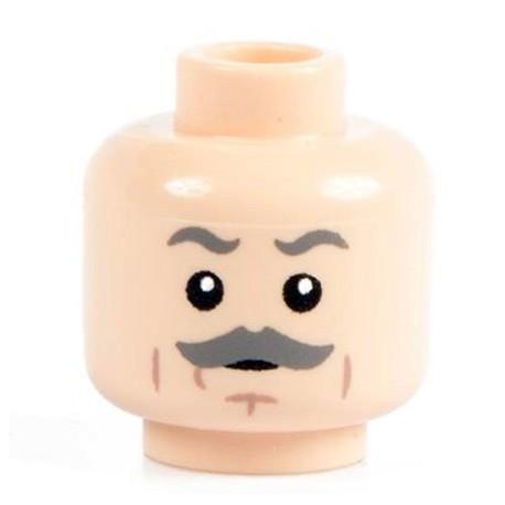 Minifig Co.- Grey Mustache Head (Light Flesh)