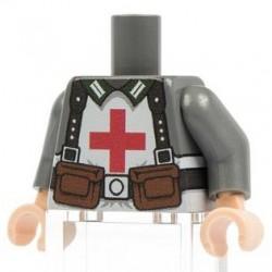 Lego Minifig Co. - Torse German Medic (Dark Bluish Gray)