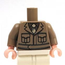 Minifig Co.- US Officer Torso (Dark Tan)