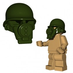 Lego Minifig BrickWarriors - Masque à Gaz US (Vert Militaire)