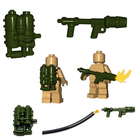 Lego Minifig BrickWarriors - Lance flammes US Flamethrower (Vert Militaire)