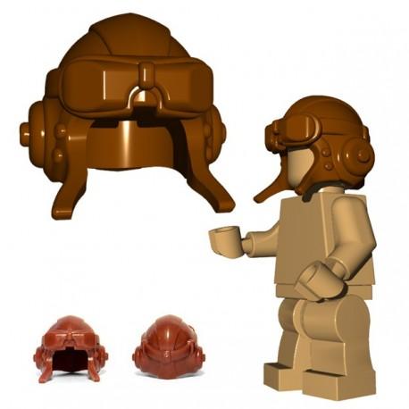 Lego Minifig BrickWarriors - Casque Aviateur (Marron)