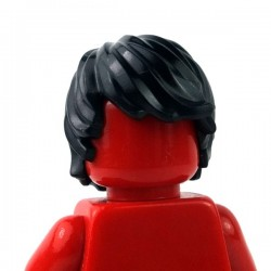 Lego - Black Minifig, Hair Tousled with Side Part