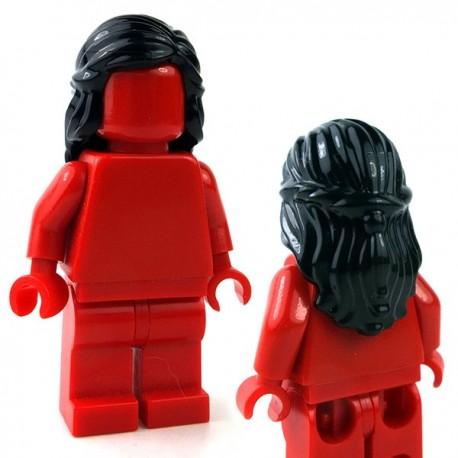Lego Minifig - Cheveux mi-long avec tresse autour des côtés (Noir)