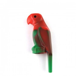Lego - Green Bird, Parrot, Wide Beak & Tail, Marbled Red