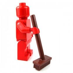 Lego - Reddish Brown Minifig, Push Broom