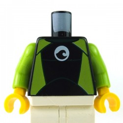 LEGO - Black Torso Wetsuit White Logo, Lime Sides & Silver Zipper, Cord on Back