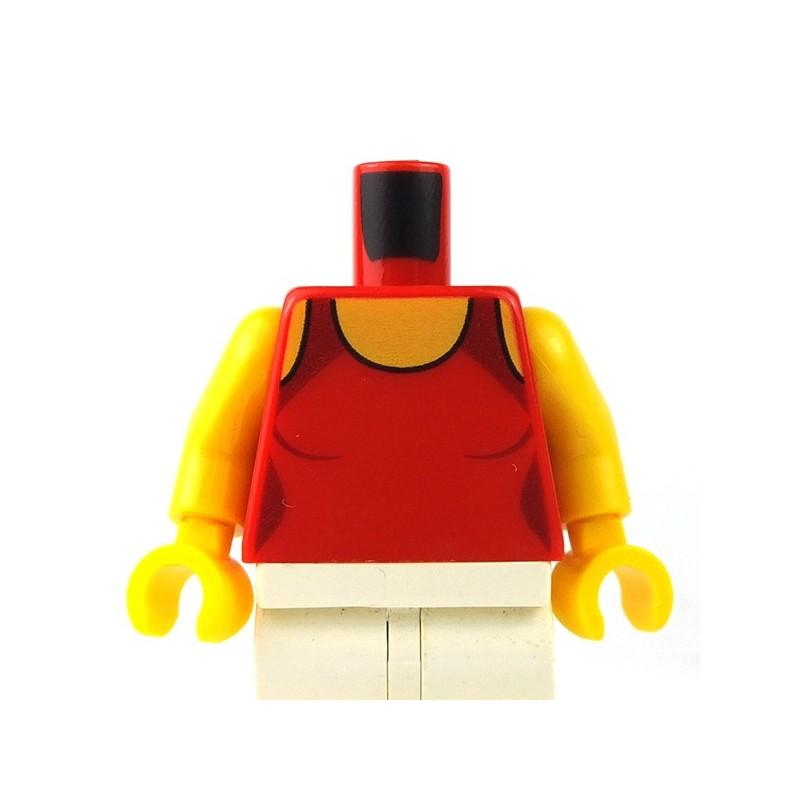 Lego 6 Torso Body For Female Girl Minifigure Red Vest Top