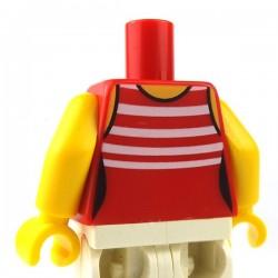 LEGO Minifigure - Torse féminin rayures (Rouge)