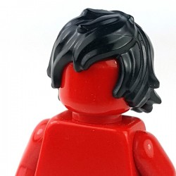 Lego - Black Minifig, Hair Tousled with Long Bangs