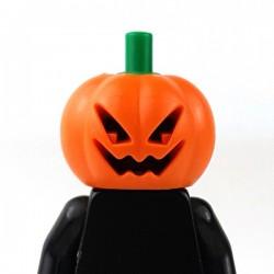 LEGO - Orange Minifig, Headgear Head Cover, Pumpkin Jack O' Lantern