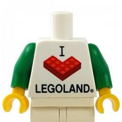 "LEGO Minifigure - Torse ""I Brick LEGOLAND"" (Blanc)"