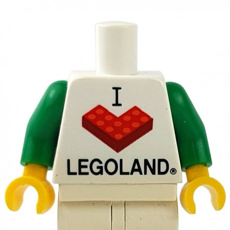 "LEGO - White Torso ""I Brick LEGOLAND"", Green Arms, Yellow Hands"
