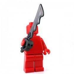 Lego Minifigure - épée dentelé avec protège-main tête de crâne (Pearl Dark Gray)