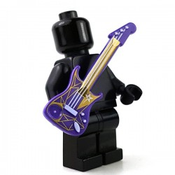Lego - Dark Purple Minifig, Guitar Electric with White Strings & Star & Gold Geometric