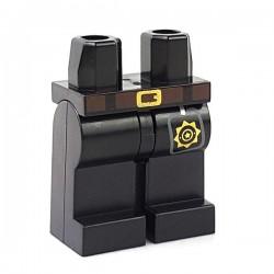 Lego Minifigure - Jambes avec ceinture marron et boucle en or, Badge