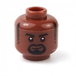Lego - Reddish Brown Minifig, Head Black Eyebrows, Sideburns & Goatee, Lopsided Grin