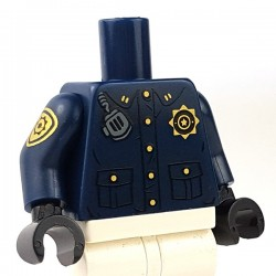 Lego - Dark Blue Torso Police Uniform, Radio, 'GCPD' , Badge on Right arm