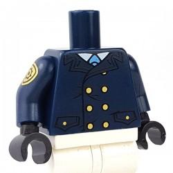 Lego Minifigure - Torse Veste avec boutons dorés, insigne de police sur le bras (Bleu foncé)
