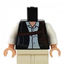 LEGO - Black Torso Female Jacket, White Button Up Shirt & Dark Brown Shoulder Holster, White Arms
