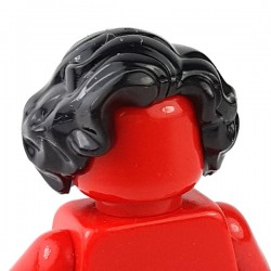 LEGO - Black Minifig, Hair Short, Wavy with Side Part