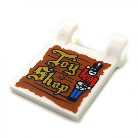 Lego - White Flag 2x2 Square, Gold 'Toy Shop' & Nutcracker Drummer