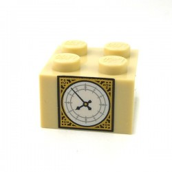 Lego - Tan Brick 2x2 with Pearl Gold & White Big Ben Clock Face