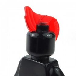 Lego Accessoires Minifigure - Cheveux crête punk iroquoise fine (Rouge transparent)