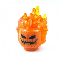 LEGO - Orange Minifig, Head with Trans-Orange Flaming Hair & Pumpkin Jack O' Lantern