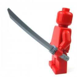 Lego Accessoires Minifigure - Katana, manche carré (Flat Silver)