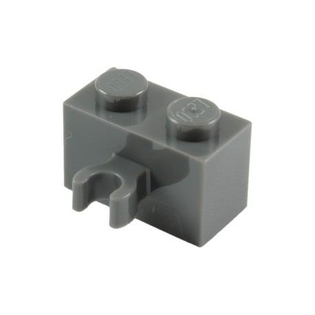 LEGO Lot of 10 Dark Gray 1x2 Brick Pieces with Vertical Clip