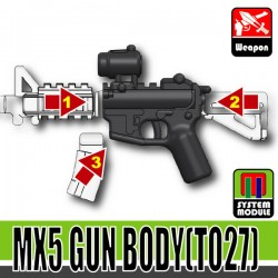Lego Accessories Minifigure Military - Si-Dan Toys - MX5 Gun Body TO27 (Combat Black)