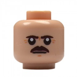 Lego Militaire United Bricks - United Bricks - Tête Européen à Moustache (Chair)