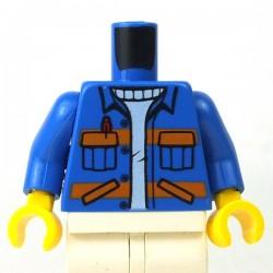 LEGO - Torse - Veste avec poches, Rayures oranges (Bleu)