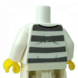 LEGO - White Torso Prisoner N°86753, Dark Bluish Gray Stripes